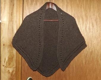 Handknit Brown Wool Shawl, Soft Triangular Wrap, Bulky, Old Fashioned, Victorian, Prairie, Country, Civil War, Costume Shawl, HAND WASH Only