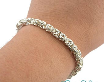 Chain Bracelet, Silver Chain Bracelet, Byzantine Chain Bracelet, Chain mail Bracelet, Byzantine Bracelet, Byzantine Chainmaille Bracelet