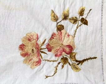 Vintage Embroidered Flower Linen Napkin