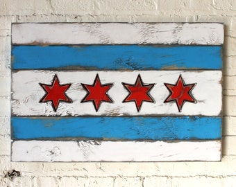 Chicago Flag Wood City Chicago Flag Wall Art Wooden Chicago Flag Wood Flag Chicago Art Handmade Chicago Rustic Chicago Flag Art Windy City