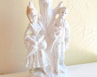 Vintage Porcelain Table Lamp Elegant Victorian Man and Woman Beautiful Bedside Lighting
