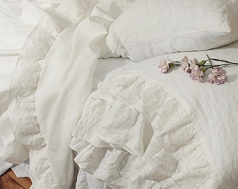 Linen duvet cover 'Grace' with extra long ruffles and lace, Single XL Size. Pure prewashed linen bedding