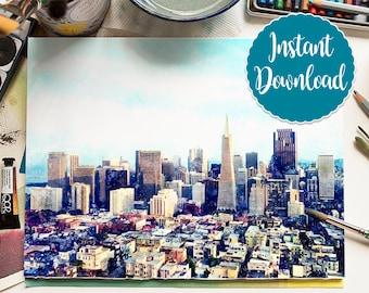 SAN FRANCISCO #1 Digital Download Watercolor Landscape San Francisco California Skyline Oil Painting Canvas Art Print Painting Home Decor