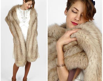Extra Long Vintage 60's Plush Silver Foxy Fur Shoulder Wrap Stole by I.Magnin & Co. | One Size, XS Small Medium Large XL