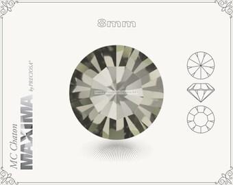 6 pc.+ SS39 (8mm) Preciosa MC Chaton MAXIMA - Black Diamond Color
