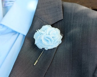 Lapel flower pin, linen ice blue carnation boutonniere, wedding boutonniere, rustic boutonniere, mens lapel flower pin, lapel flower