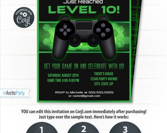 Video Game Party Etsy - Party invitation template: video game birthday party invitation template free