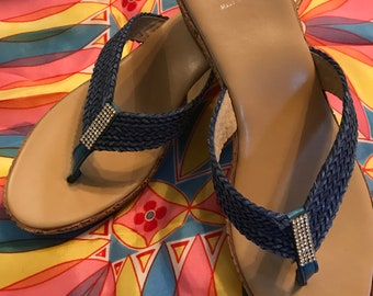 Sotto Sapra, Italian braided leather sandals, blue, size 41 wedge sandals