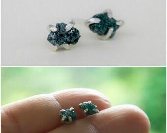Green Diamond earrings Rough Uncut raw diamond Studs -  Sterling silver studs