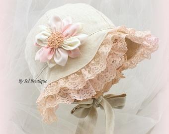 Sun Hat, Baby Girl, Blush, Pink, Peach, Cream, Linen Hat, Baby Vacation Hat, Girl Hat, Baby, Baby Bonnet, Linen Bonnet, Crystals, Brooch