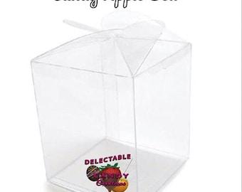 Candy Apple Box-Apple Box-Clear Candy Apple Box-Square Candy Apple Box-Candy Apple