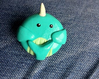 Turquoise Clay Narwhal Brooch
