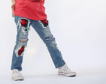 Holiday Patch Skinnies - baby , toddler , kids - hand-distressed jeans in sizes 6m-12y , denim skinnies , boys / girls jeans , skinny jeans