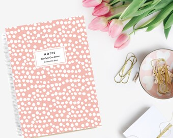 Notebook Personalized  - Uneven Spots | Custom | Stationery | Monogram | Journal | Blush | Pink | Goals | Planner
