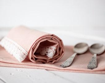 Hostess gift - linen cream towels set of 2 - Flour sack towels - Linen and lace towel - Dish towels - Linen tea towels
