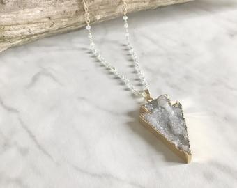 ARROW - collier sautoir - collier long chaine - collier pierre, gemmes, quartz drusy - bijoux boho, flèche - pierre semi-précieuses - gypsy