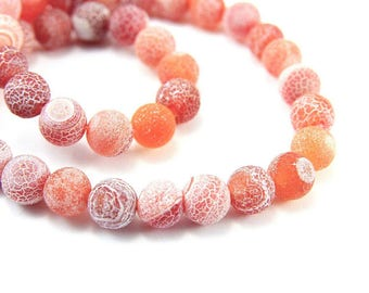 10 x 6mm coral Frosted Crackle Agate beads