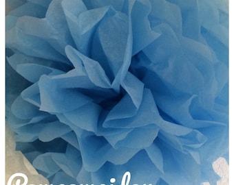 Pack of 2 PomPoms in blue color tissue paper