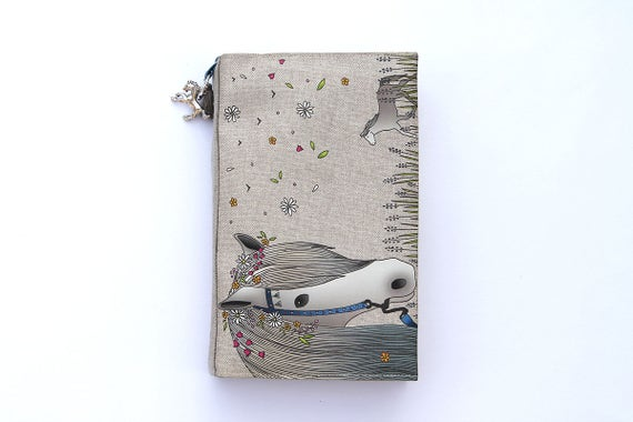 Protects natural linen illustrated 'Bohemian white horse' pocket book