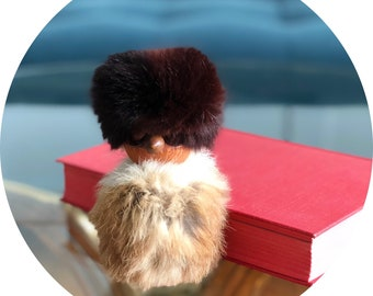 Vintage wooden Eskimo doll with real fur, Inuit doll