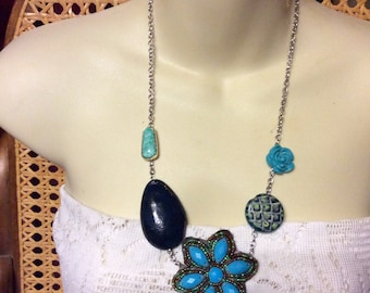 Up cycled old earrings hand made by me necklace. Free shipping