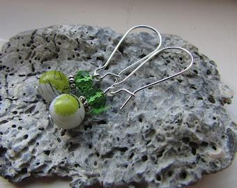 Green earrings , Kidney wire earrings , Silver plated earrings , Beaded earrings , Dangle earrings , Gifts for her