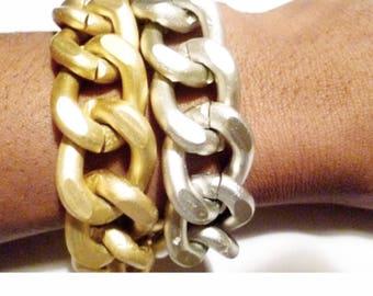 Pretty Princess: Matte Gold & Silver Chunky bracelet.