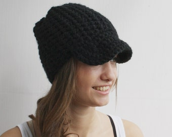 Black Crochet Brimmed Hat Wool Hat Beanie Christmas Gift For Her