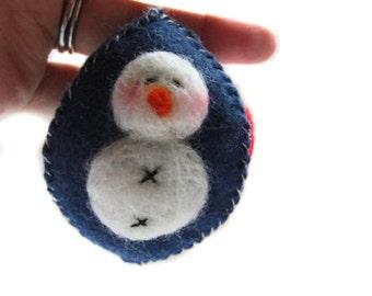 Snowman Ornament - Christmas Ornament - Holiday Ornament - Felted Snowman