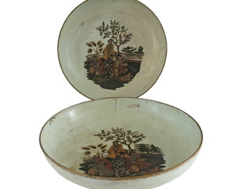 Pair 19th C. French Papier Mache Chinoiserie Bowls