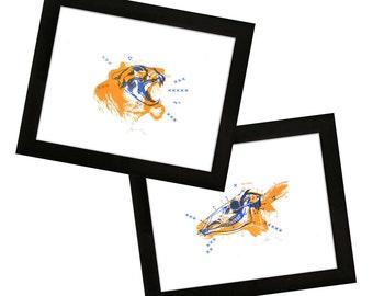 50% OFF - Set - Predator & Prey - Deer and Lion - 2-Color Letterpress Print - Taxidermy/Bones/Skulls