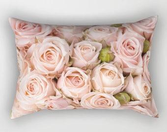 Blush Pink Roses Rectangular Pillow, Rose Throw Pillow, Blush Pink Pillow, Floral Throw Pillow, Pink Flower Pillow, Pink Floral Toss Pillow