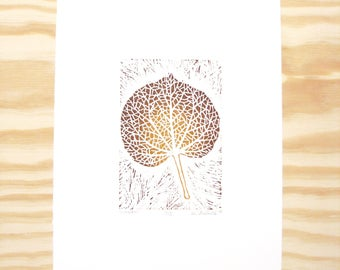 "Woodblock Print - ""Linden"" Leaf Print - Fall Autumn Leaves - Brown and Ochre"
