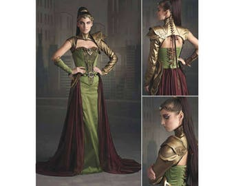 Warrior Princess, Fantasy Ranger, Medieval, Firefly Path Gown, Armor, Crown, Belt, Cosplay Womens Costume, Sewing Pattern, Simplicity 8363