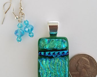 Turquoise Dichroic fused glass rectangular Pendant with matching crystal earrings