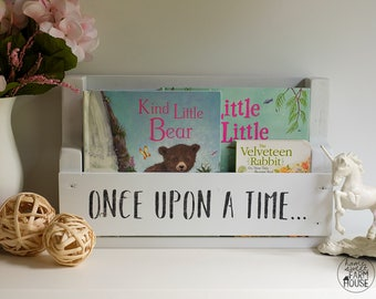 "Modern Rustic Kid's Bookshelf | ""Once Upon A Time"" Kids Wood Bookshelf | Kids Reading Nook | Nursery Bookshelf | Children's Bookshelf"