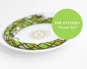 Bead crochet necklace pattern Bead crochet rope pattern Tartan graph Geometric pattern Chudibeads Green choker