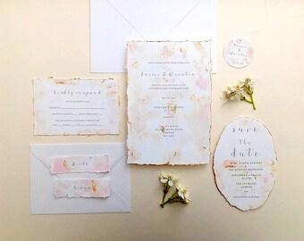 Acrylic blush wedding invitations, modern wedding invites, hand painted invites, deckle edge wedding stationery, RSVP cards