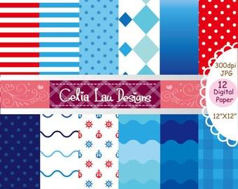 Nautical background set , Sailor Baby shower Digital Paper, blue background, Ocean Anchors Wave Digital Paper (cg137)