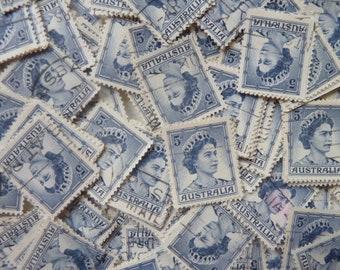 400 Blue Australian Stamps - 400 Vintage Stamps