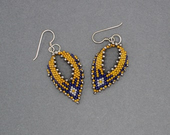 Russian Leaf Earrings, Russian Leaves, Seed Bead Jewelry, Beadwork Leaf, Seed Bead Earrings, Beadwoven Jewelry, Gift for Her Handmade