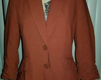Vintage 80s Brown Blazer 3/4 length Sleeves Medium