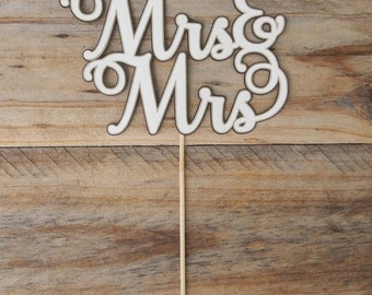 CLEARANCE. Mrs & Mrs Cake Topper.