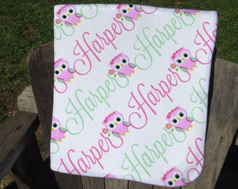 Owl Personalized Baby Blanket - Owl Receiving Blanket - Owl Name Blanket for Girls - Infant Swaddling Blanket with Owls - Baby Shower Gift