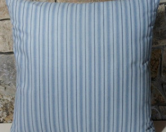 "20"" Blue on Blue Ticking Stripes Pillow Cover//Throw Pillow"