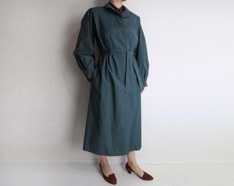 VINTAGE Trench Coat Womens Jacket Sage Green Belted Medium