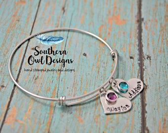 mother's heart bracelet, hand stamped mother's bracelet, mom birthstone bracelet - grandmother's bracelet, gift for mom, gift for her