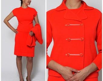 Vintage 1960s Va Va Voom Three Piece Neon  Red Orange Skirt Suit by Knits by Tally   Medium