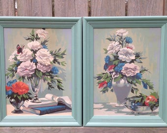 Paint By Number Floral Still Life Pair of Vintage Framed Paintings
