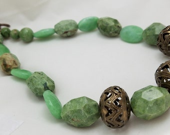 Chunky Green Opal and Bronze Statement Necklace